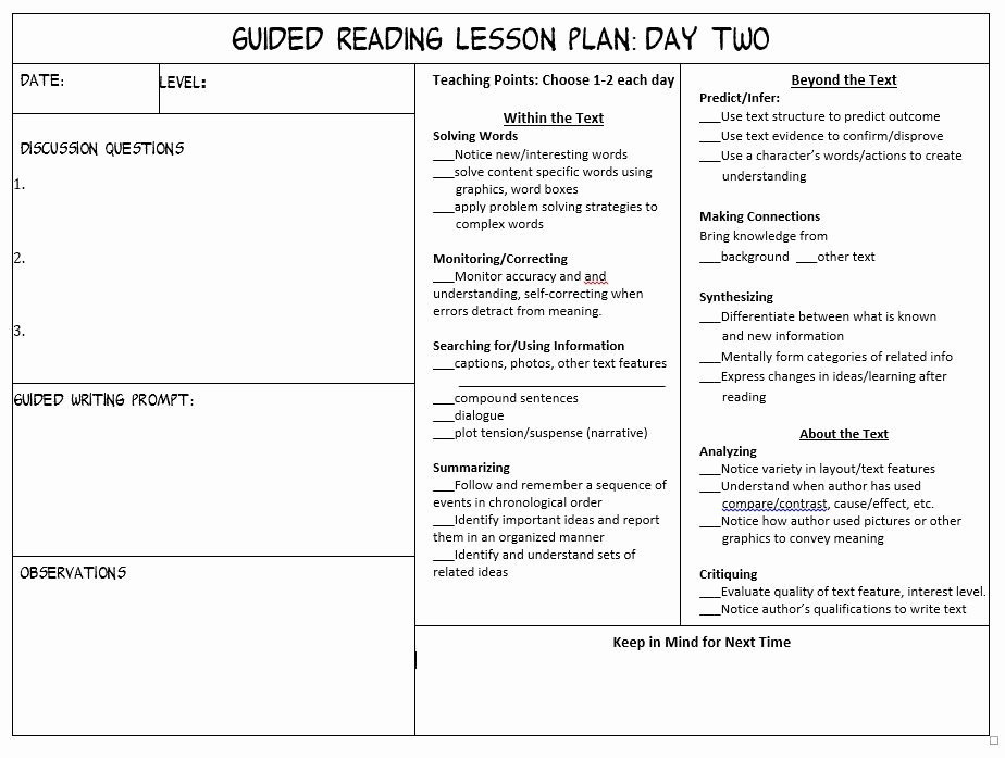 Guided Reading Lesson Plan Template Invitation Template
