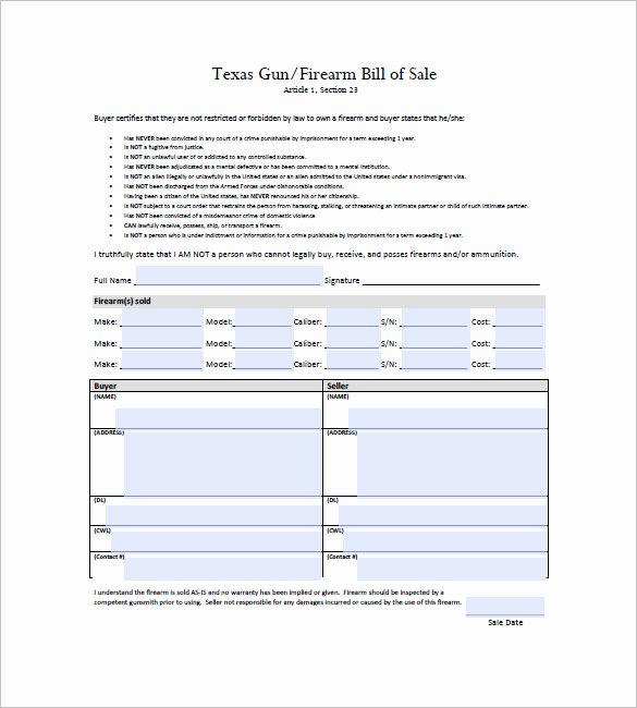 Gun Bill Of Sale Template – 10 Free Word Excel Pdf