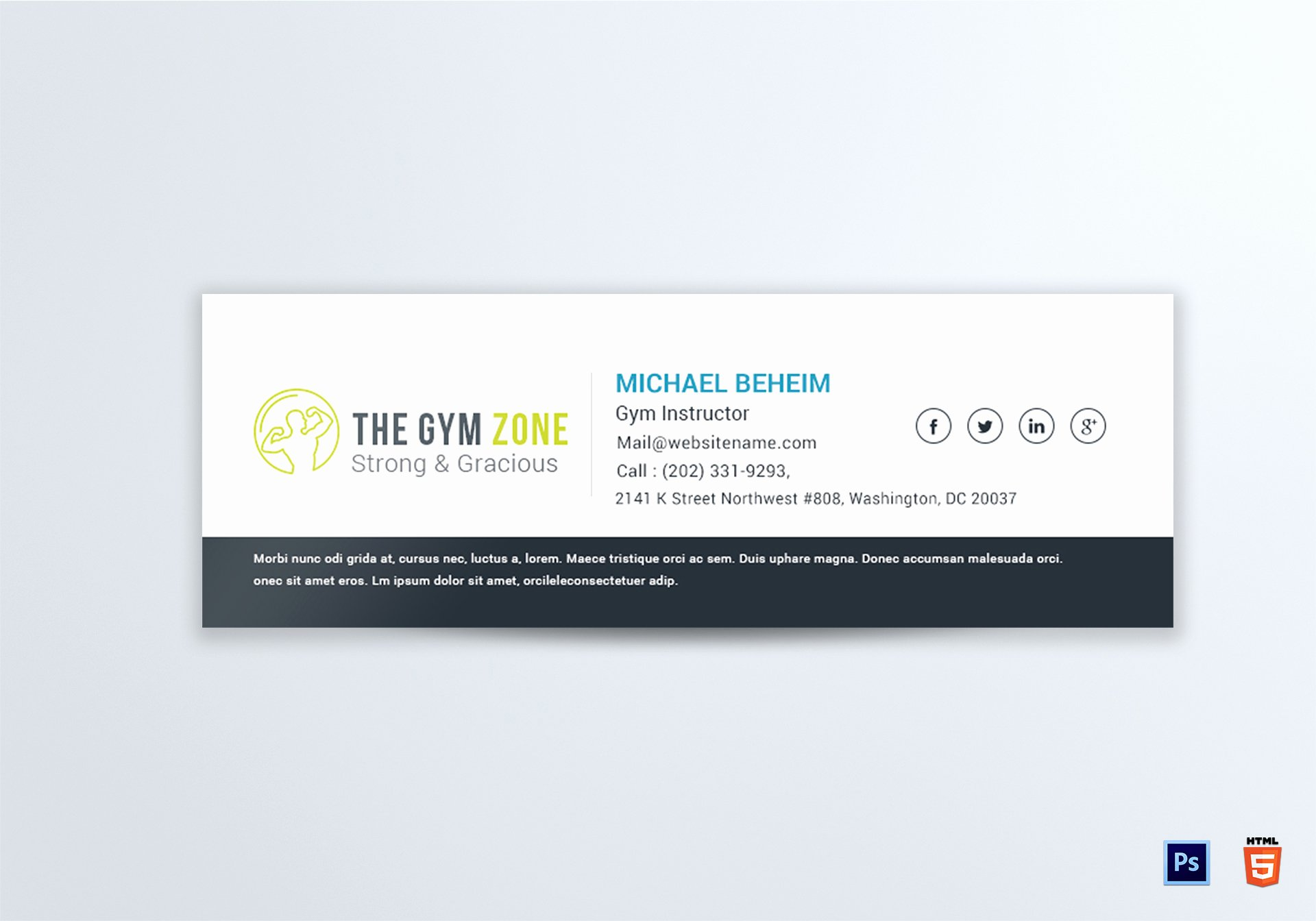 Gym Email Signature Design Template In Psd HTML