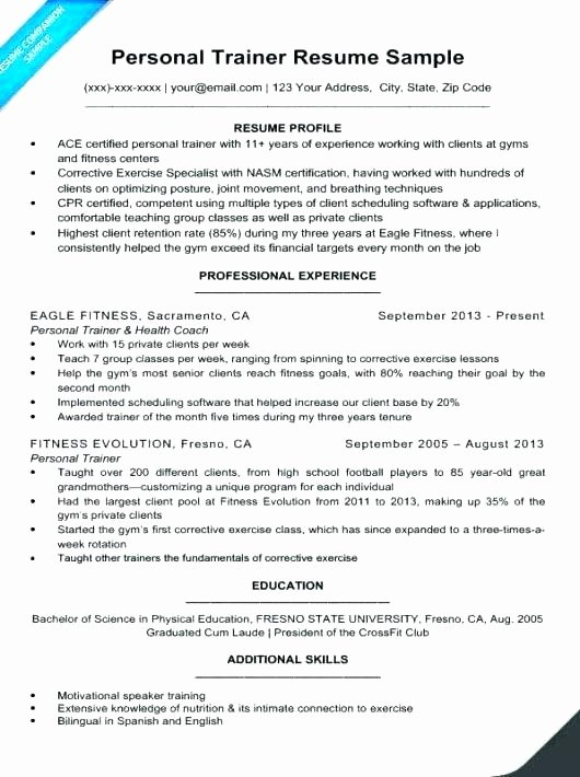 Gym Instructor Cv Sample Personal Training Resume Trainer