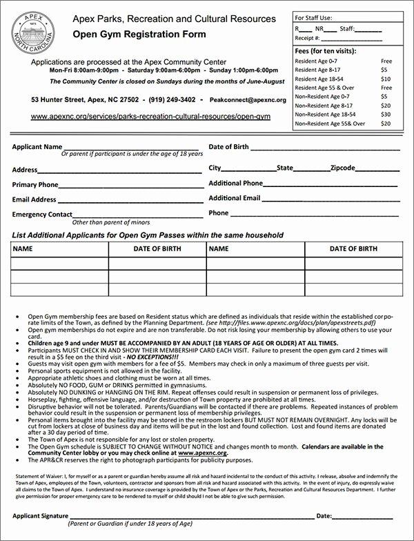 Gym Membership Registration form Leading La S Pinterest
