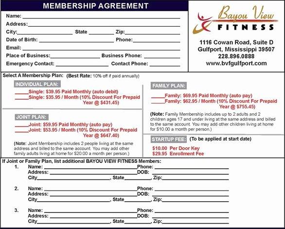 Gym Registration form Pdf