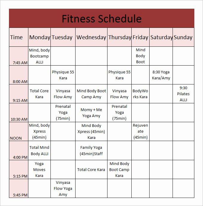 Gym Workout Schedule Chart