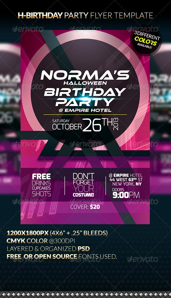 H Birthday Party Flyer Template by Anekdamian