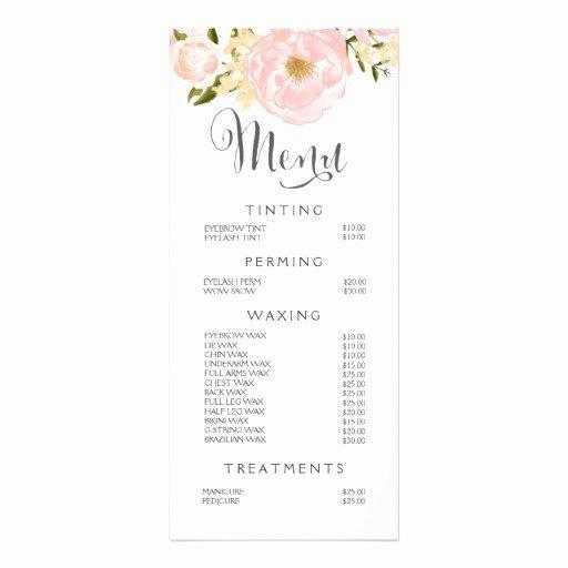 Hair Nail Salon Beautician Menu Floral Price List Custom