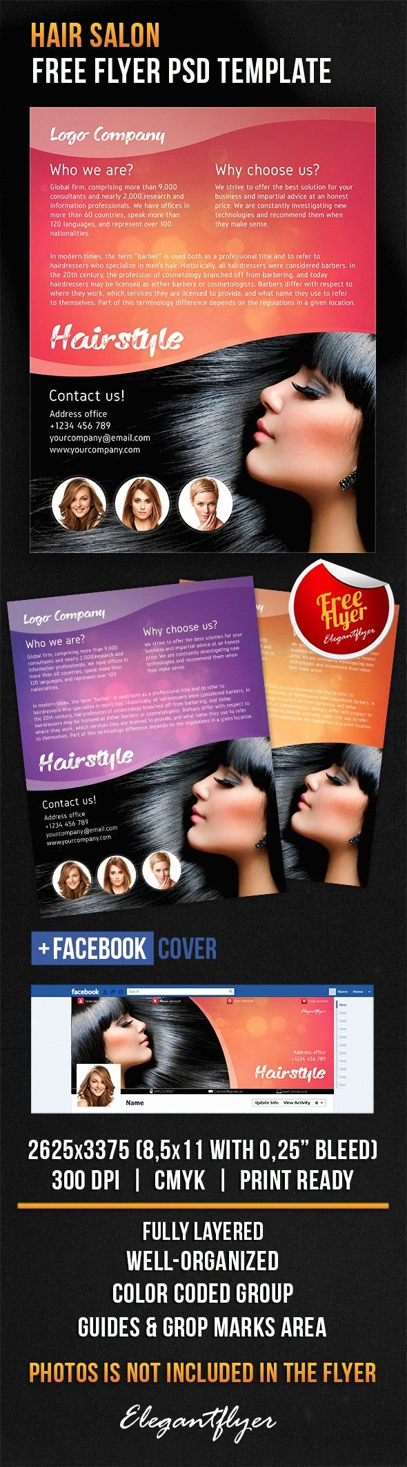 Hair Salon – Free Flyer Psd Template – by Elegantflyer