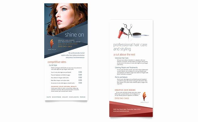 Hair Stylist & Salon Rack Card Template Word & Publisher