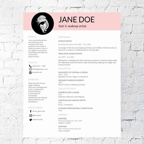 Hair Stylist Makeup Artist Resume Template