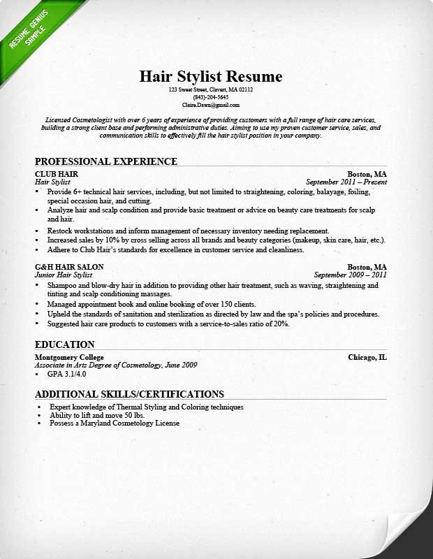 Hair Stylist Resume Sample & Writing Guide