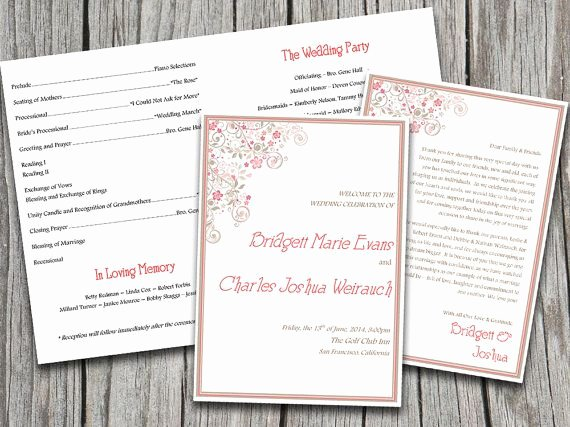 Half Fold Vintage Floral Flourish Wedding Program Template