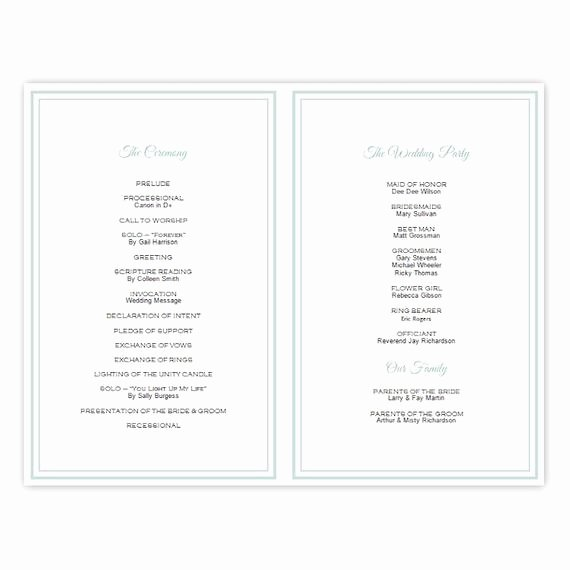 Half Fold Wedding Program Template Brittany Diy by Ajsprints
