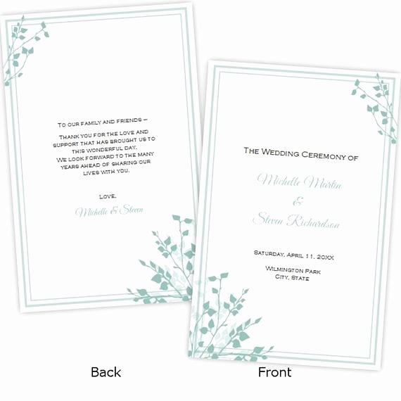 Half Fold Wedding Program Template Brittany