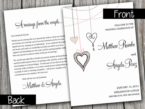 Half Fold Wedding Program Template Heart Strings Blush Pink