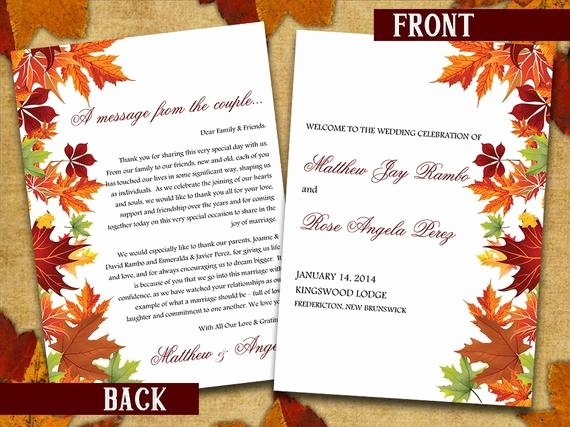half fold wedding program template