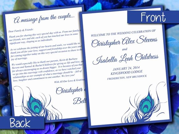 Half Fold Wedding Program Template Peacock Feather Horizon