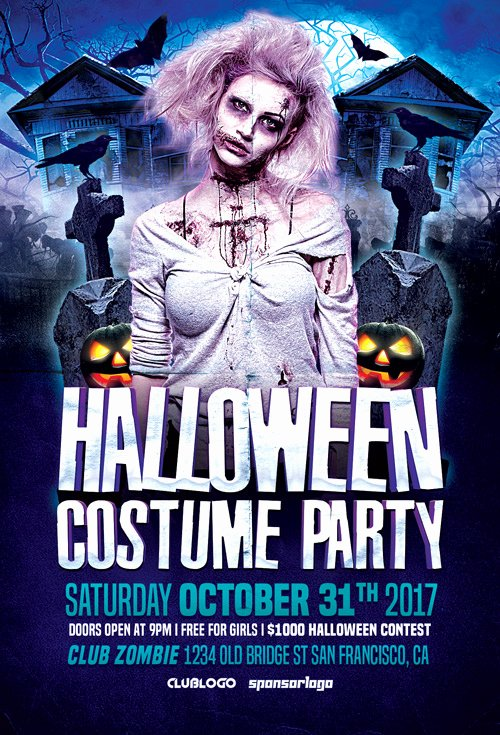 Halloween Costume Party Flyer Template Flyer for