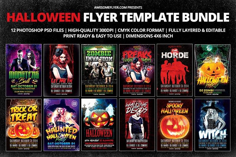 Halloween Flyer Template Bundle for Shop