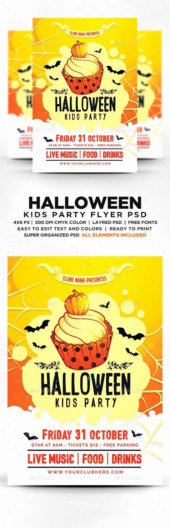 Halloween Kids Party Flyer Psd