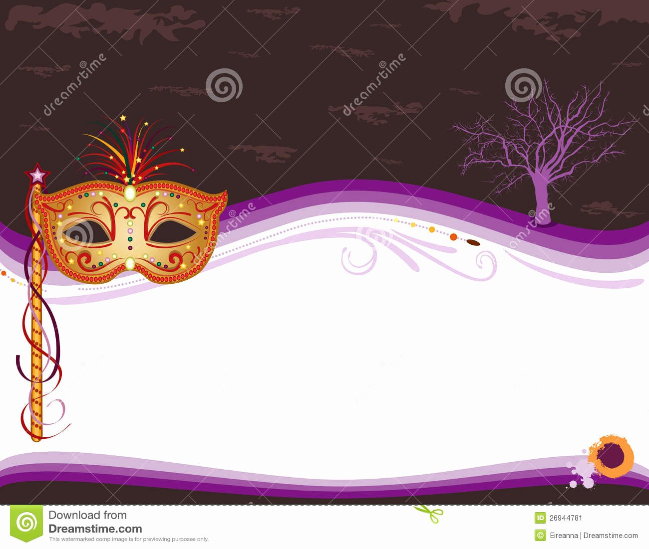 Halloween Masquerade Invitation with Golden Mask Stock