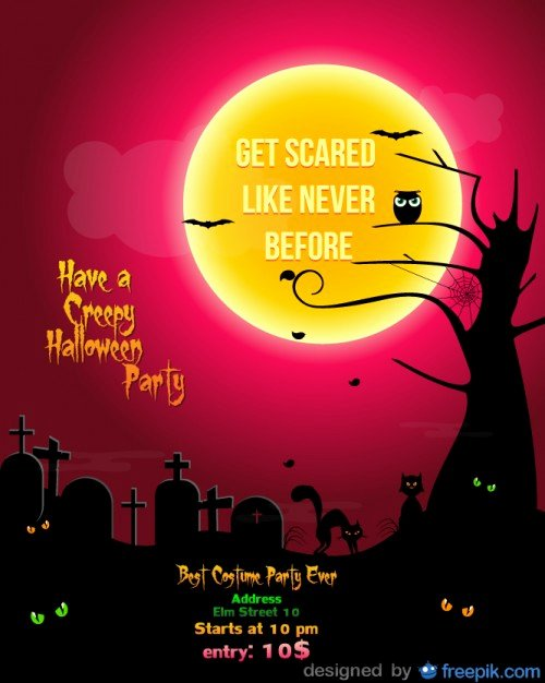 Halloween Party Flyer Cementery Red Template Vector