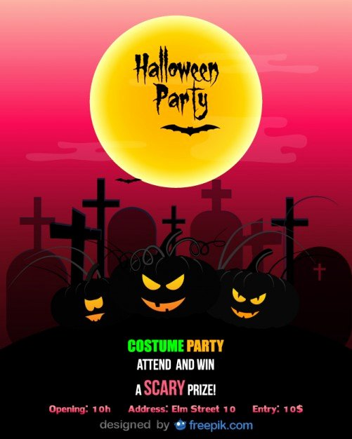 Halloween Party Flyer Template Costume Party Vector
