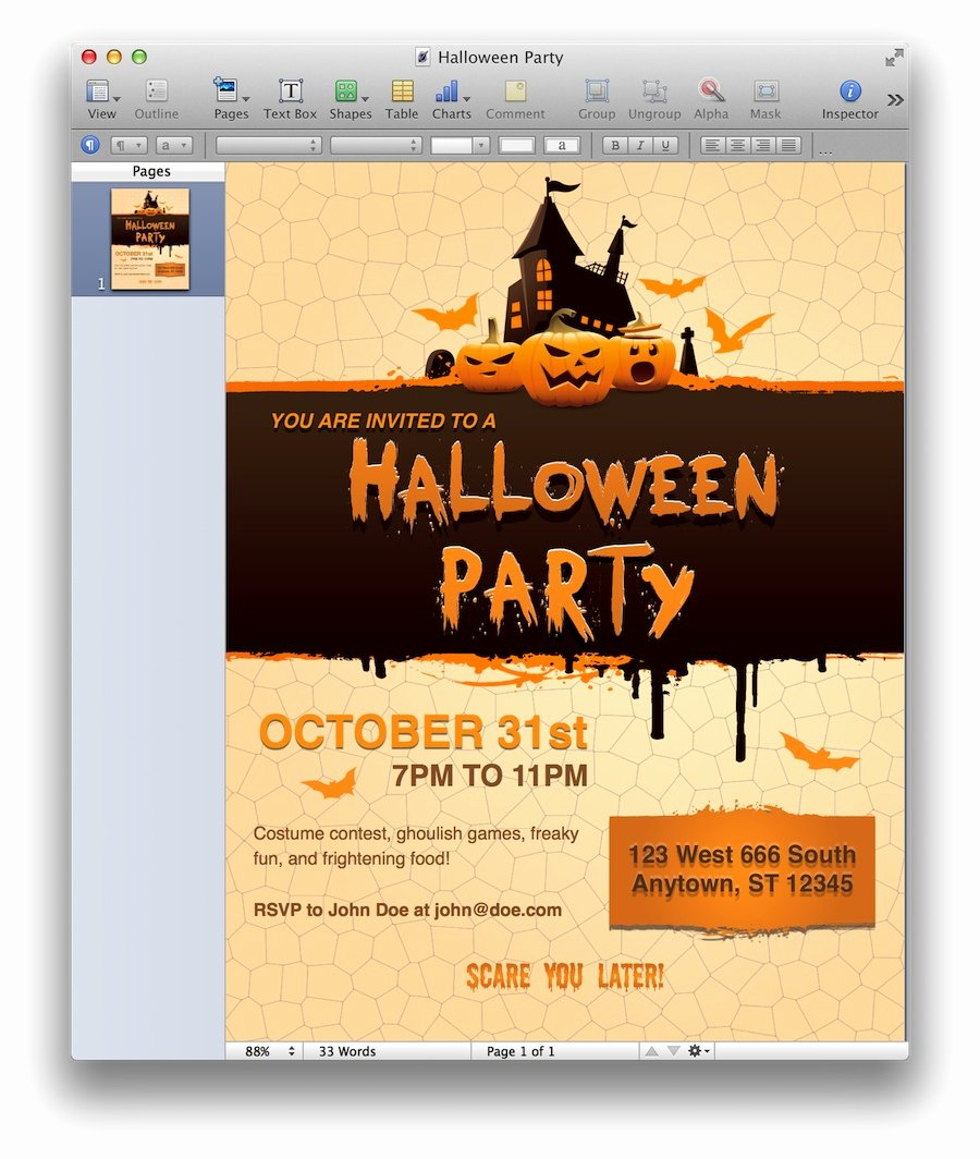Halloween Party Invitation for Pages Mactemplates