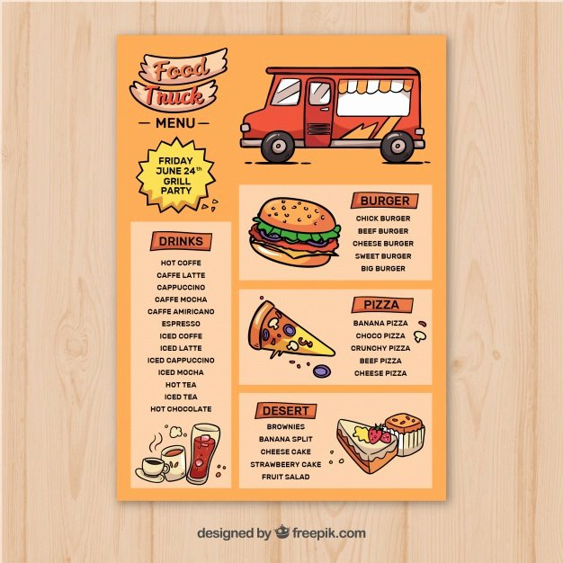 Hand Drawn Food Truck Menu Template Vector