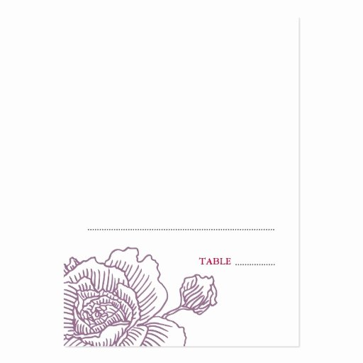 Hand Drawn Rose Folded Place Cards Purple Business Card