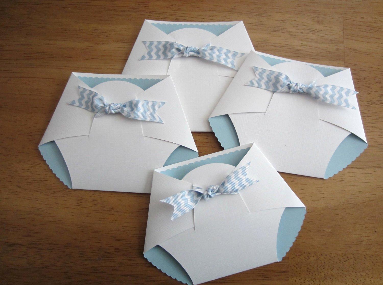 Handmade Baby Shower Invitation Diaper Shape W Chevron