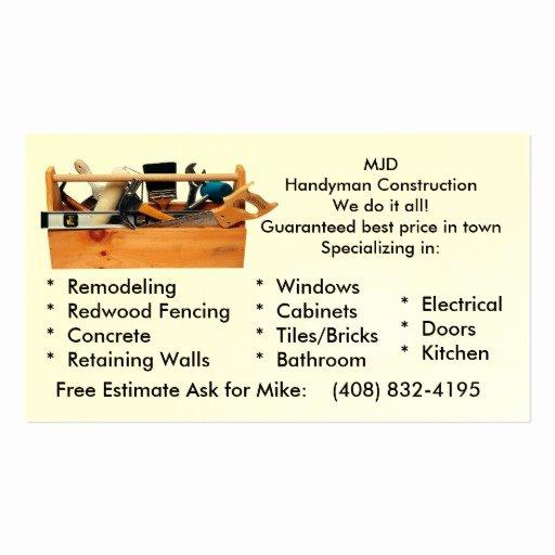 Handy Man Construction Business Card Template