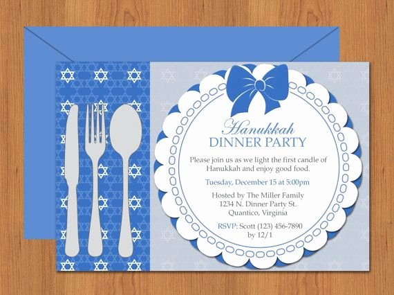 Hanukkah Dinner Party Invitation Editable Template