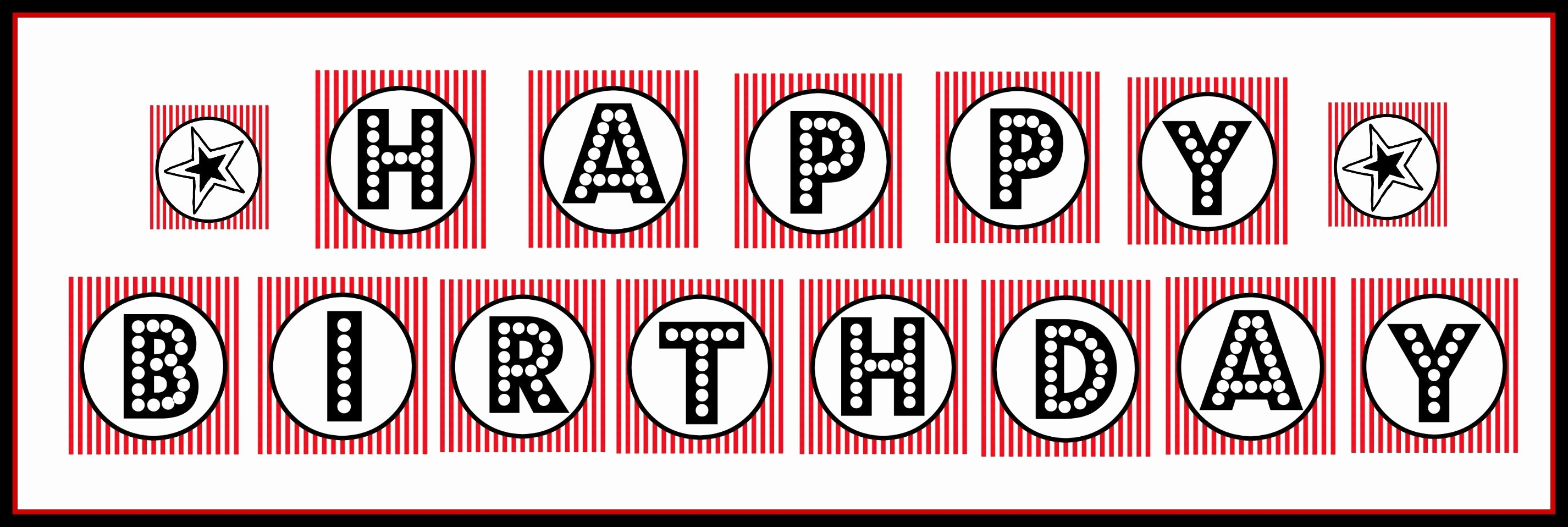 Happy Birthday Banner Black and White Printable