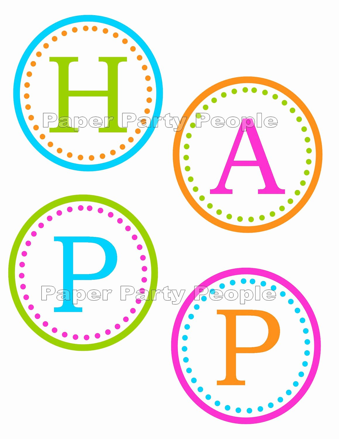 Happy Birthday Banner Printable Diy 3 5 Circles Favor
