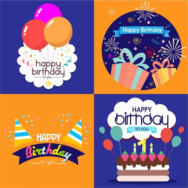 Happy Birthday Card Template Free Vector 24 693