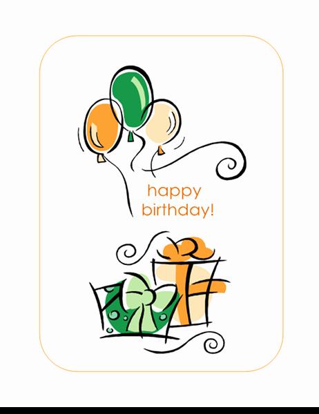 Happy Birthday Card with Balloons Quarter Fold Fice