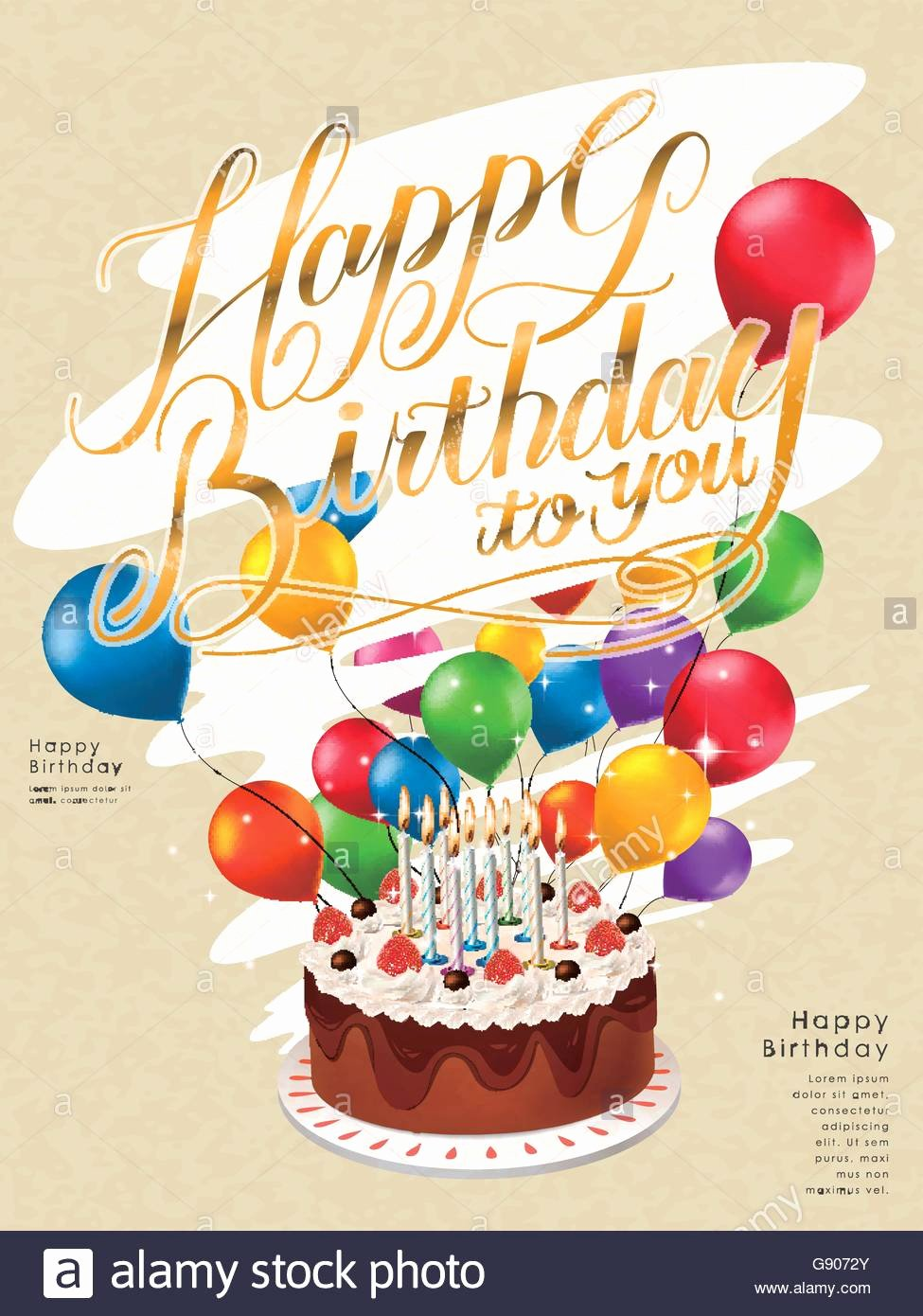 Happy Birthday Poster Template Design with Lovely Cake and