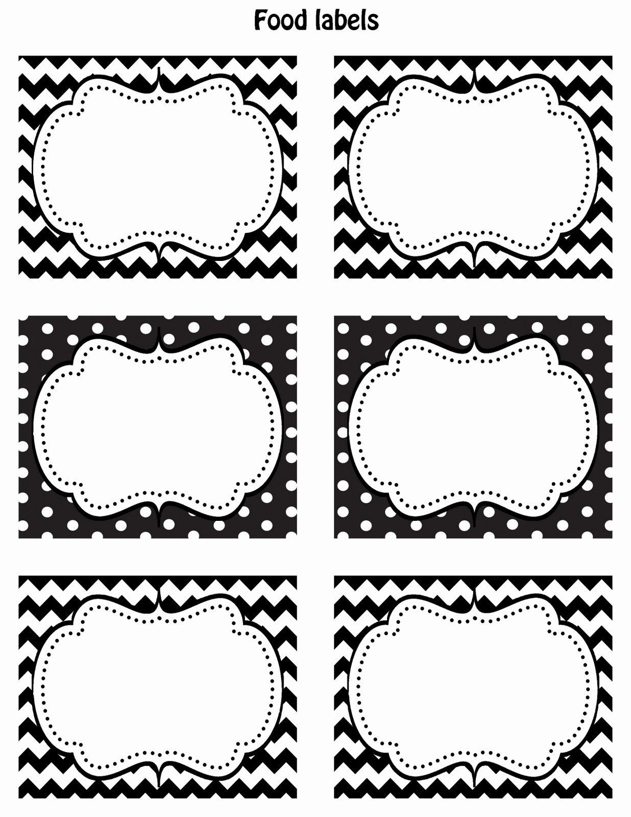 Happy Friday Free Printable Food Labels