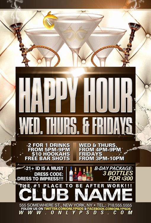 Happy Hour Flyer Template Psd Templates