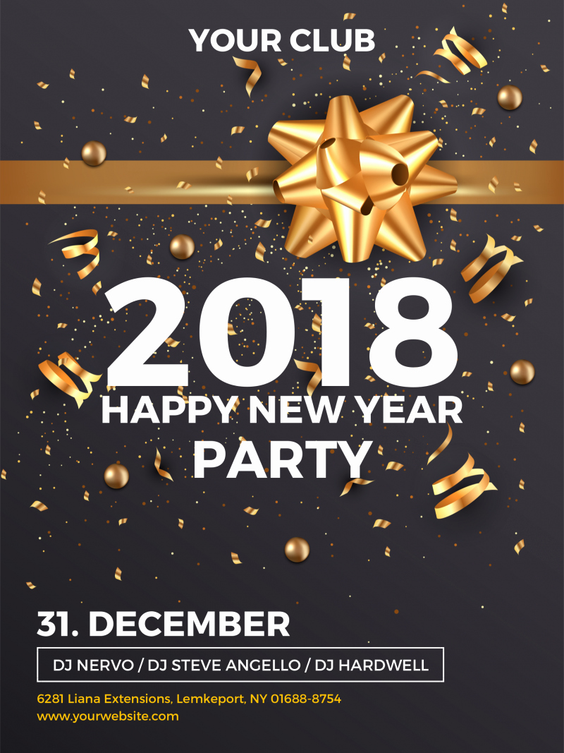 Happy New Year Party Invitation Template for social Media