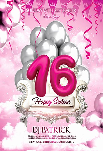 Happy Sixteen – Free Flyer Psd Template – by Elegantflyer
