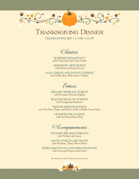 Happy Thanksgiving Menu Letter