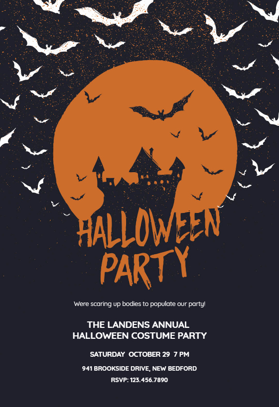 Haunted House Free Halloween Party Invitation Template