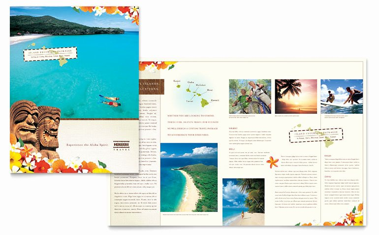 Hawaii Travel Vacation Brochure Template Word & Publisher