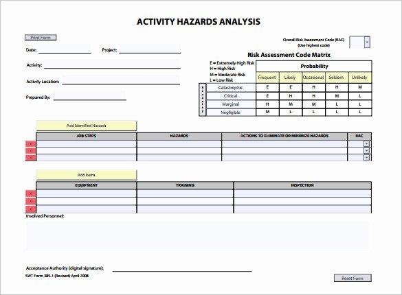 Hazard Analysis Template – 11 Free Word Excel Pdf