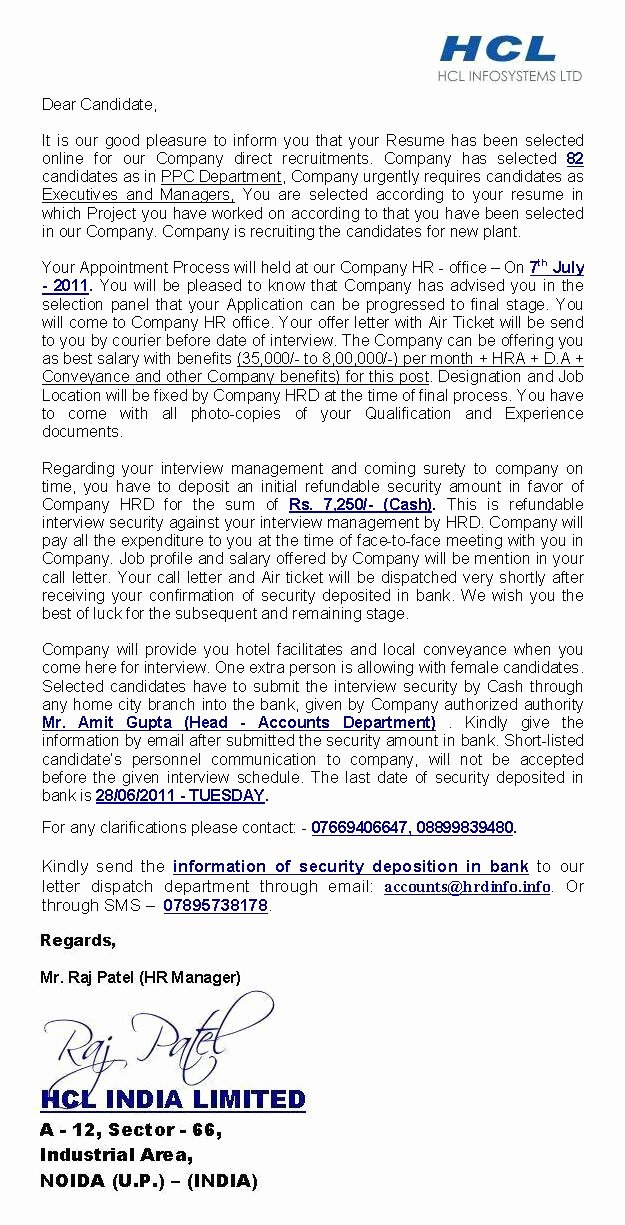 Hcl India Limited — Fake Offer Letter