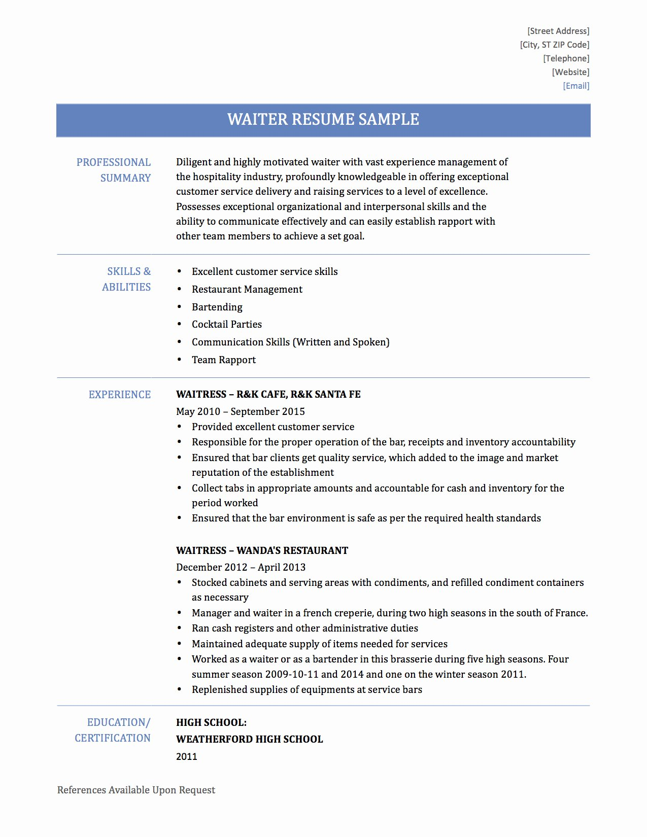Head Waiter Resume Sample Sidemcicek