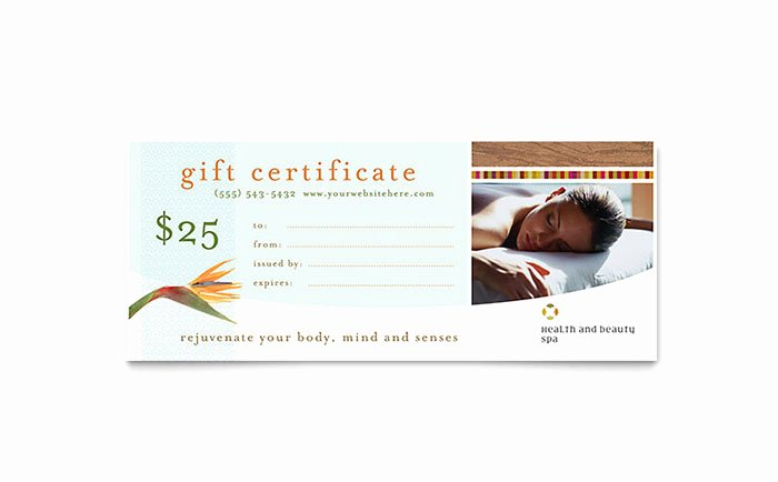 Health & Beauty Spa Gift Certificate Template Word