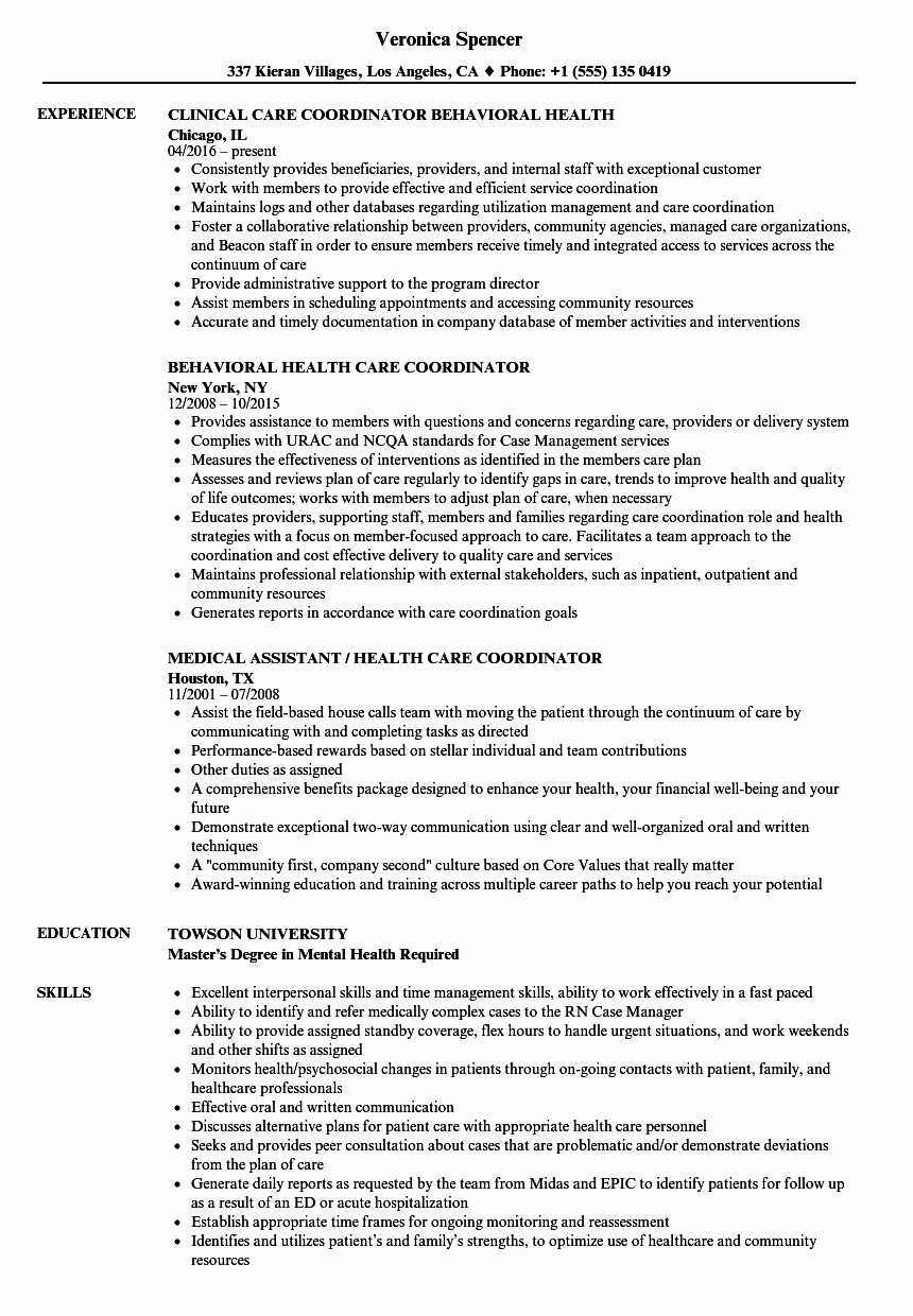 Health Care Coordinator Resume Samples