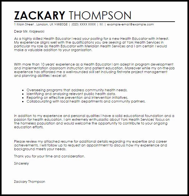 Health Educator Cover Letter Sample
