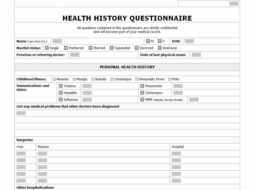 Health History Checklist